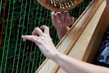 Hands playing harp