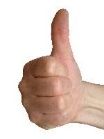 Thumb turned up