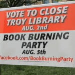 Book Burning Party Sign