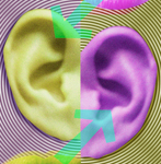 two ears hearing voices