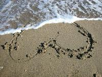 Heart in sand on a beach